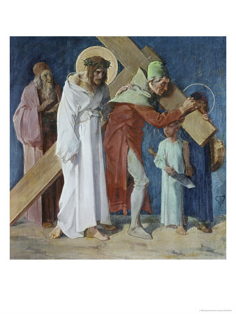 Simon of Cyrene Helps Jesus 5th Station of the Cross Giclee Print by Martin Feuerstein