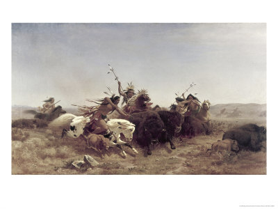 The Buffalo Hunt Giclee Print by Charles Ferdinand Wimar