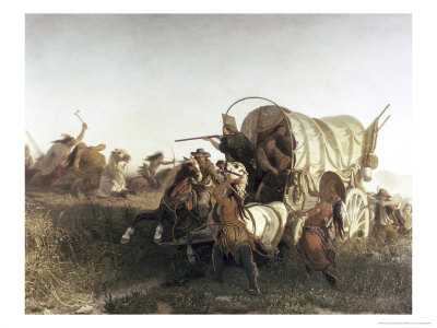 The Attack on the Emigrant Train Giclee Print by Charles Ferdinand Wimar