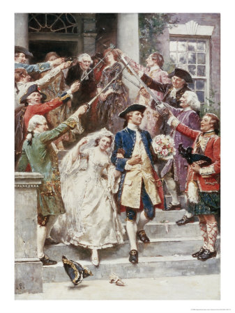 Here Comes the Bride, Wedding of Washington, c.1759 Giclee Print by Jean Leon Gerome Ferris