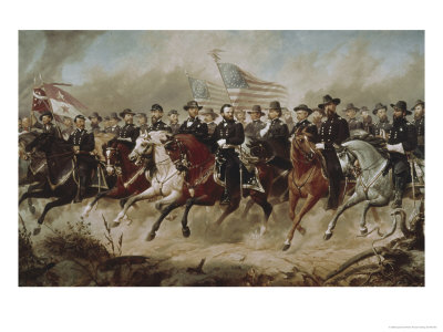 Grant and His Generals Giclee Print by Peter Hansen Balling