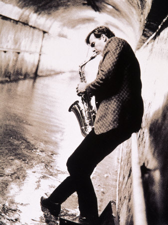 Saxophone Player in Tunnel Photographic Print by John Glembin