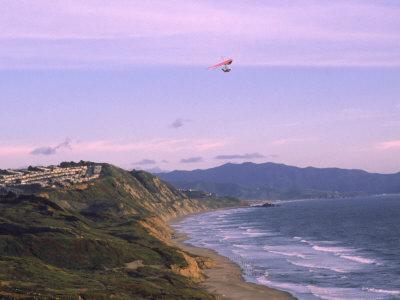 Hang Gliding Over Ocean, Marin County, CA Photographic Print by Dan Gair