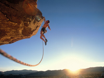 Rock Climber Dangling Off of Cliff Fotoprint