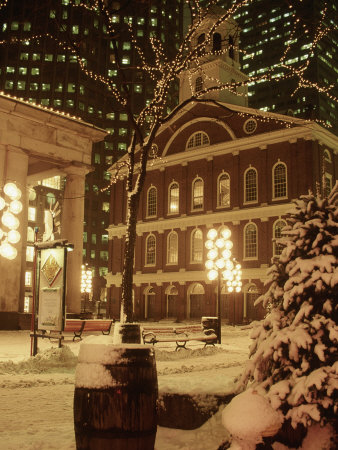 Faneuil Hall at Christmas with Snow, Boston, MA Photographic Print by James Lemass