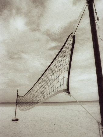 Volleyball Net on the Beach, Cancun, Mexico Photographic Print