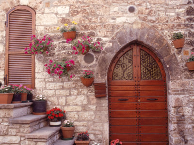 Exterior of House with Flowers, Italy Photographic Print by Robin Allen