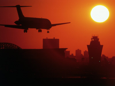 Airplane Descending at Dawn Photographic Print by Charles Blecker