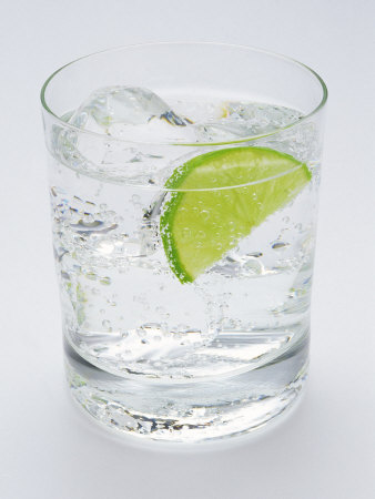 Glass of Soda Water and Lime Slice Photographic Print at AllPosters.
