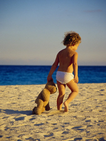 Toddler on the Beach, Miami, FL Photographic Print by Robin Hill