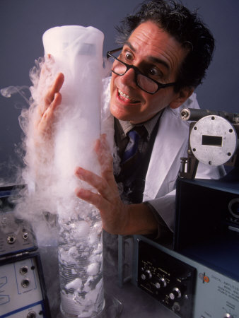 Confused Scientist in Lab Photographic Print by Gary Conner