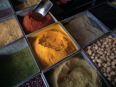 Spices, Bombay Market, Bombay, India Photographic Print by Dan Gair