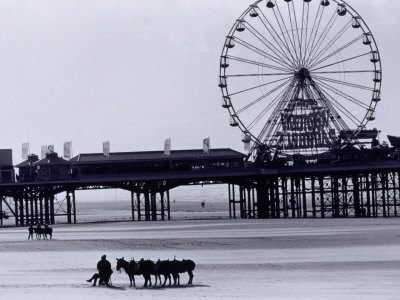 Pier and Donkey Rides, Blackpool, England Photographic Print by Walter Bibikow