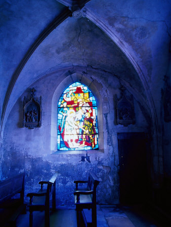 Jean D'Arc Stained Glass in Church, France Photographic Print by Bruce Clarke