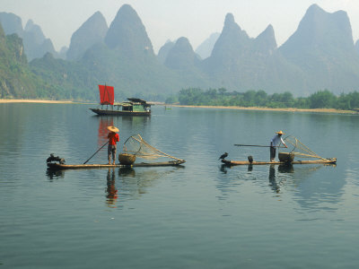 Fishermen on Bamboo Rafts, China Photographic Print by Inga Spence