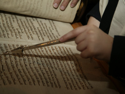 Boy Reading from Torah at Bar Mitzvah Photographic Print by Bill Keefrey