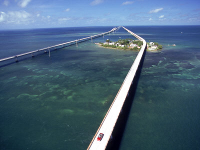 Aerial of 7 Mile Bridge, Pigeon Cay, Florida Keys Photographic Print