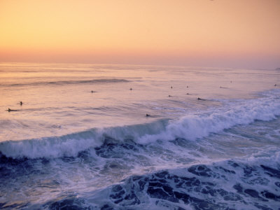 Surfers, Mission Beach, San Diego, California Photographic Print by James Lemass