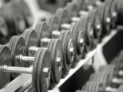 Free Weights in Rack Photographic Print by Bob Winsett