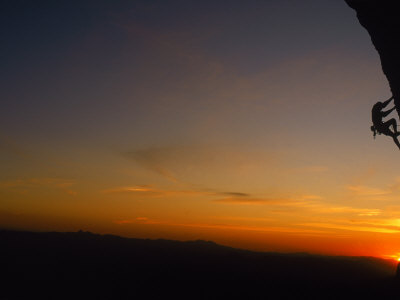 Man Climbing Rock at Sunset, Mt. Lemmon, AZ Photographic Print by Greg Epperson