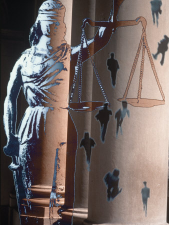 Lady of Justice, Columns and People Walking Photographic Print by Gary Conner
