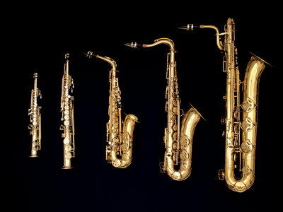Different Sized Saxophones Photographic Print by Gary Conner