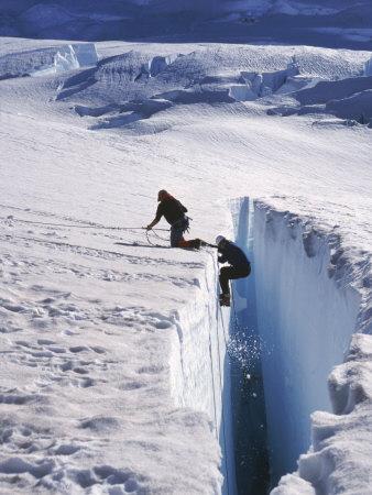 Climbers, Crevasse, Emmons Glacier, Mt. Rainier, WA Photographic Print by Cheyenne Rouse