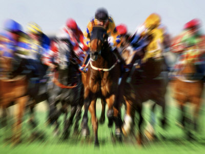 Horse Race in Motion Photographic Print
