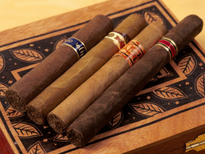 Premium Hand Rolled Cigars on Box Photographic Print by Gary Conner