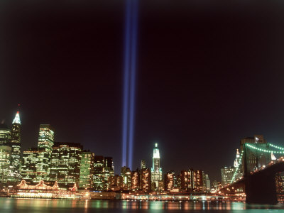 World trade center memorial lights new york city fotografisk tryk