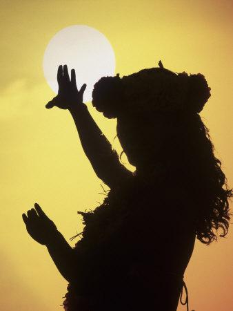 Polynesian Dancer, Ahu Tahai, Easter Island Photographic Print by Angelo Cavalli