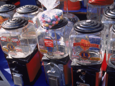 Old Bubble Gum Machines for Sale Outdoors Photographic Print by Tamarra Richards