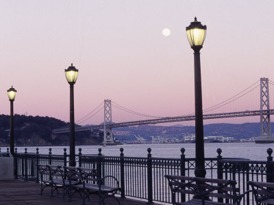 Street Lamps with Bridge in the Background Photographic Print by Robin Allen