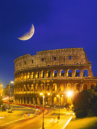 Colosseum at Night, Rome, Italy Photographic Print by Terry Why