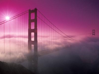 golden gate bridge fog. Golden Gate Bridge in Morning