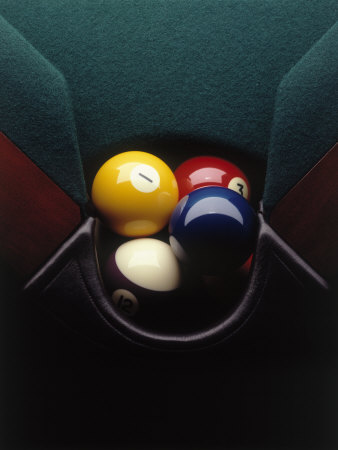 Pool Balls in Corner Pocket Photographic Print by Howard Sokol