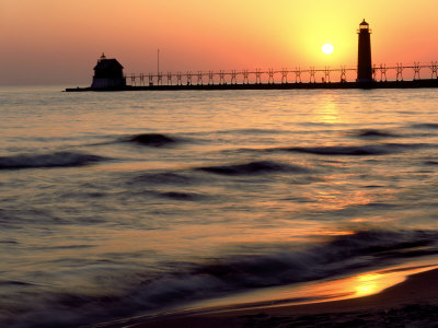Sunset Light on Grand Haven Lighthouse, MI Photographic Print