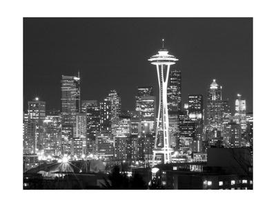 Seattle Skyline Mono Photographic Print by John Gusky
