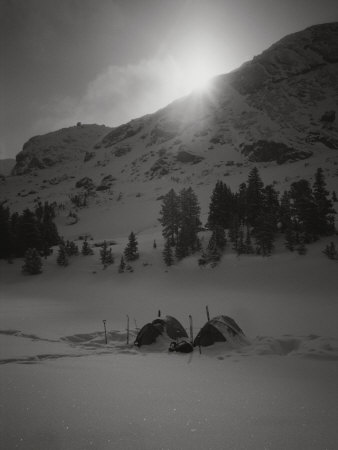 A Shot of Base Camp at Sunrise Photographic Print by Bobby Model
