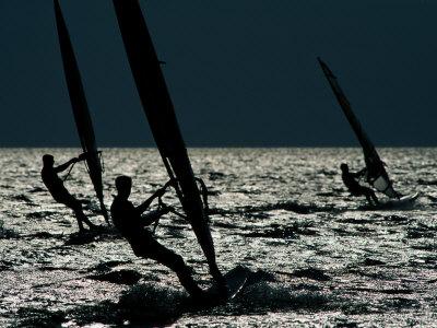 Windsurfing at Cape Hatteras National Seashore Photographic Print by Raymond Gehman