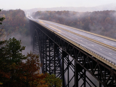 View of the Bridge Spanning the New River Gorge in West Virginia Photographic Print by Richard Nowitz