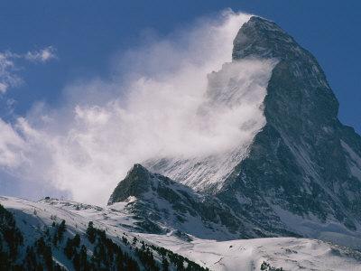 Snow Blows off of the Matterhorn Above Zermatt Photographic Print by Gordon Wiltsie