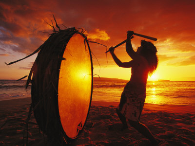 Native Hawaiian Man Beats His Drum on Makena Beach at Sunset Photographic Print