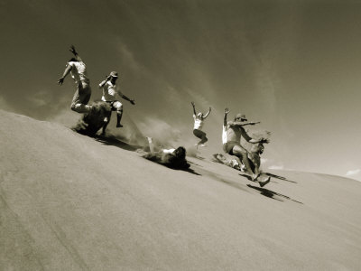 A Group of Hikers Have a Freefall Down a Sand Dune Near the Alsek River in Alas Ka Photographic Print by Barry Tessman
