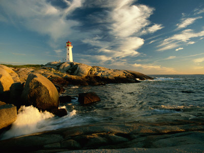 Scenic View of the Rocky Coastline Near Peggys Cove Lámina fotográfica