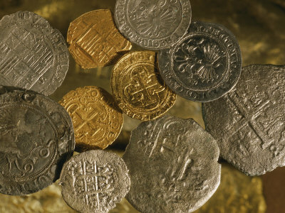 Gold and Silver Coins Minted in Both Spain and the Colonies Photographic Print