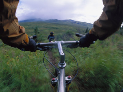 Expedition Members Pedal Their Way Through Lake Clark National Park, Alaska Photographic Print by Bill Hatcher