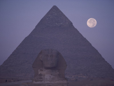 A View of the Great Sphinx with a Full Moon and the Great Pyramid in the Background Photographic Print by Bill Ellzey
