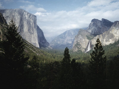 El Capitan and Bridal Veil Falls Visible in Wide Angle View of Yosemite National Park Photographic Print