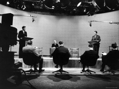 Presidential Candidates Senator John Kennedy and Rep. Richard Nixon Standing at Lecterns Debating Photographic Print by Francis Miller
